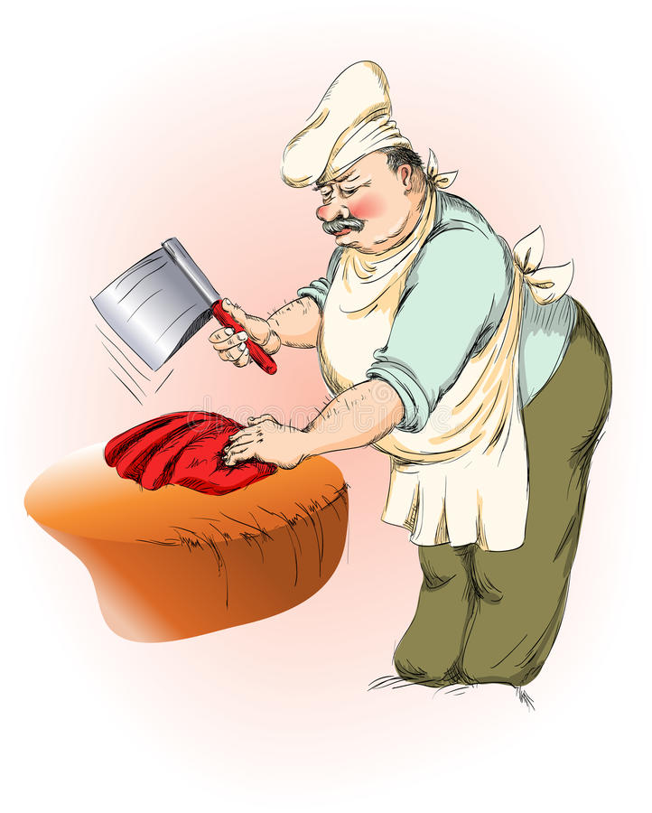 Carnicero stock de ilustración
