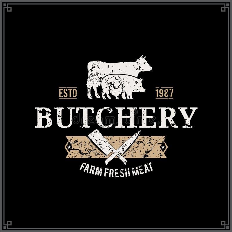 Carnicero diseñado retro Shop Label Template con las siluetas de los animales del campo libre illustration