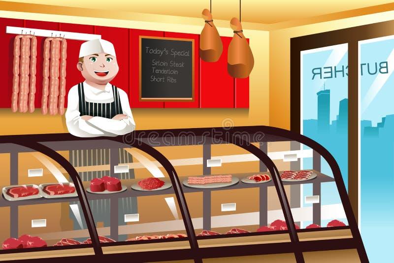 Carnicero en una tienda de carne stock de ilustración