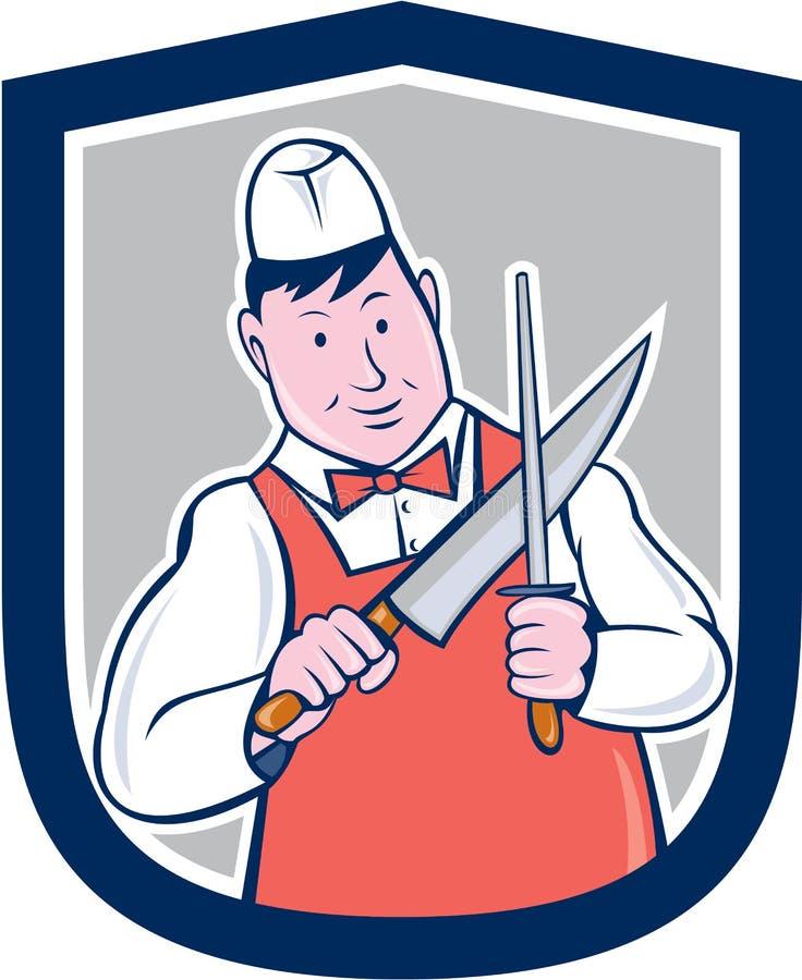 Carnicero Sharpening Knife Cartoon stock de ilustración