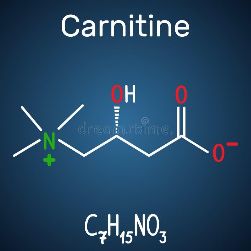 CarnitineL-carnitine molekyl Strukturell kemisk formel stock illustrationer