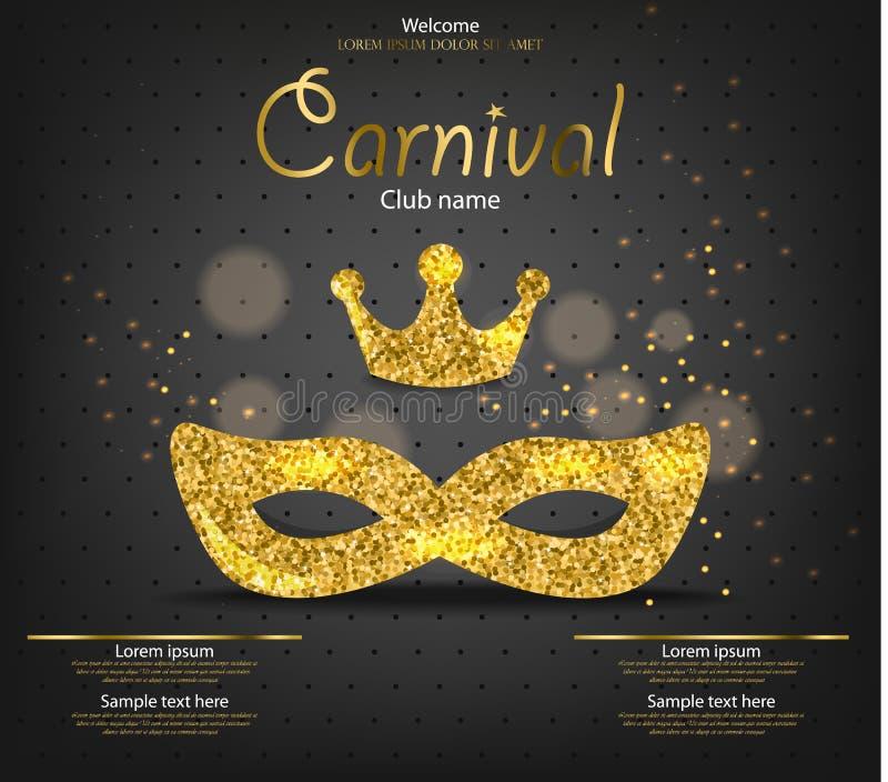 Carnival公主金黄闪烁面具导航现实 时髦的化妆舞会党 狂欢节卡片邀请 晚上 向量例证