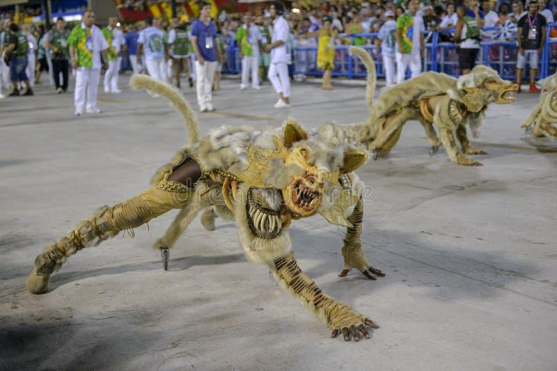 Carnival 2018 – Beija -Flor. RIO DE JANEIRO, RJ /BRAZIL - FEBRUARY 13, 2018: Samba School parade in Sambodromo. Beija-Flor de Nil—polis during royalty free stock photography