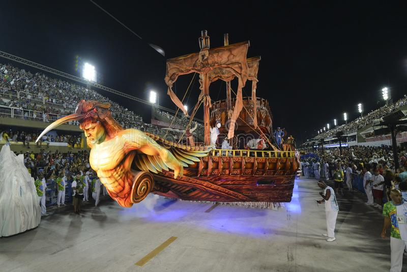 Carnival 2018 – Beija -Flor. RIO DE JANEIRO, RJ /BRAZIL - FEBRUARY 13, 2018: Samba School parade in Sambodromo. Beija-Flor de Nilópolis during festival stock image