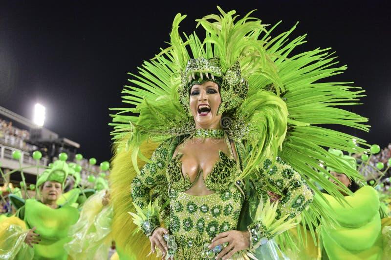 Carnival 2018 – Rensacer de Jacarepagua. Rio de Janeiro, RJ/Brazil - february 09, 2018: Samba School parade in Sambodromo. Rensacer de Jacarepagua during royalty free stock photo