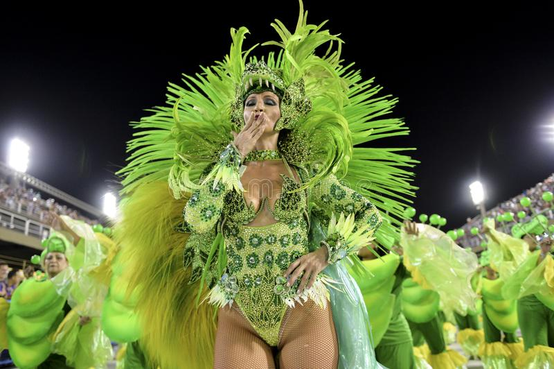 Carnival 2018 – Rensacer de Jacarepagua. Rio de Janeiro, RJ/Brazil - february 09, 2018: Samba School parade in Sambodromo. Rensacer de Jacarepagua during stock photos