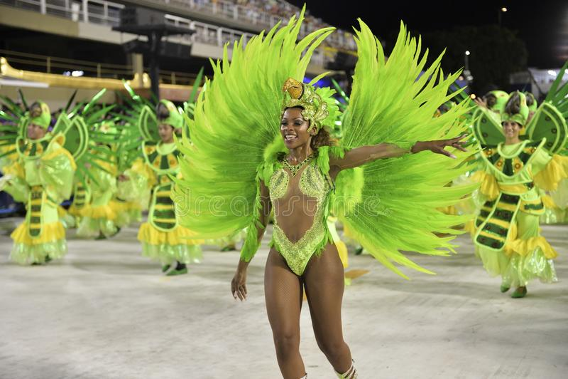 Carnival 2018 – Rensacer de Jacarepagua. Rio de Janeiro, RJ/Brazil - february 09, 2018: Samba School parade in Sambodromo. Rensacer de Jacarepagua during stock image