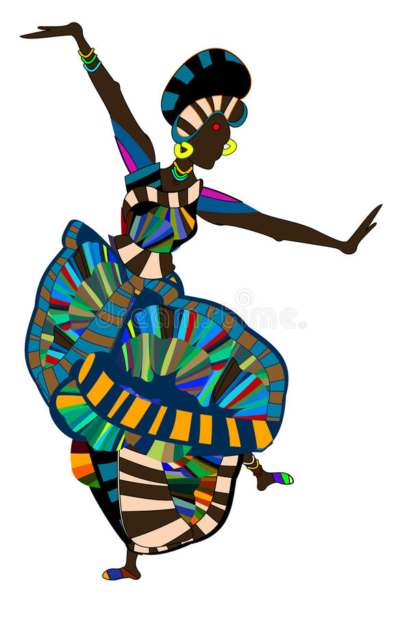 Carnival. Brightly dressed woman cheerfully perform ethnic dance vector illustration