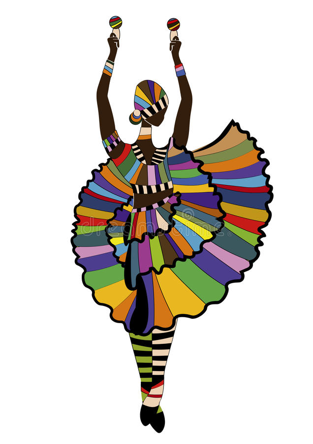 Carnival. Woman in festive dress dancing carnival dance on a white background royalty free illustration