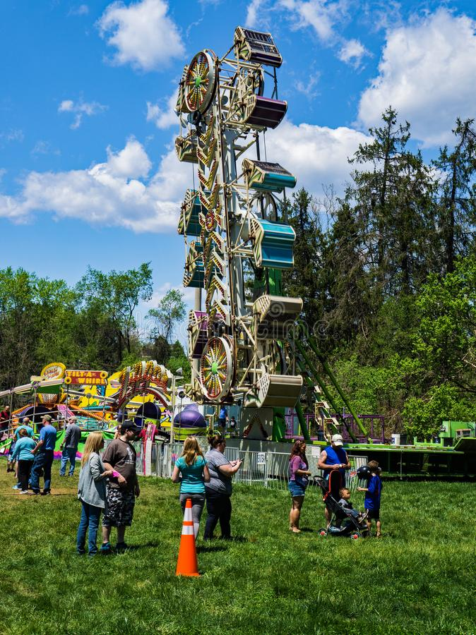 Carnival at the Annual Dogwood Festival. Vinton, VA – April 28th: carnival rides at the Annual Dogwood Festival located in Vinton, VA on April 28th, 2018 stock photo