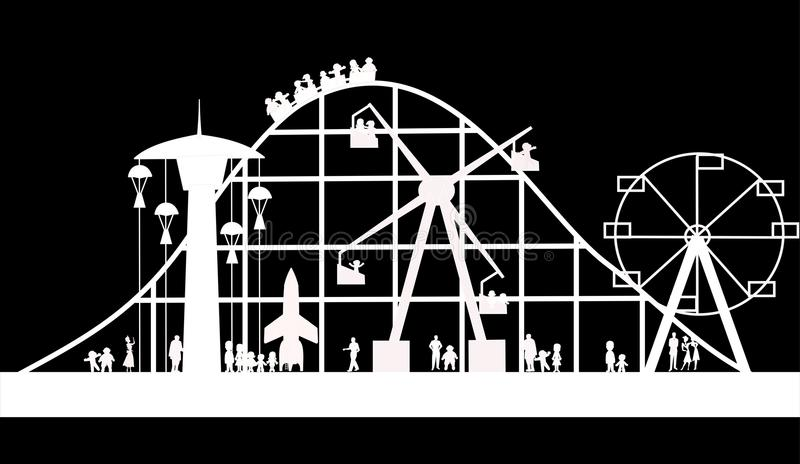 Carnival background in silhouette vector illustration