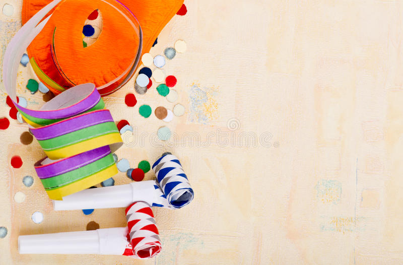 Carnival Background. Still life with carnival decoration and glitter stock image
