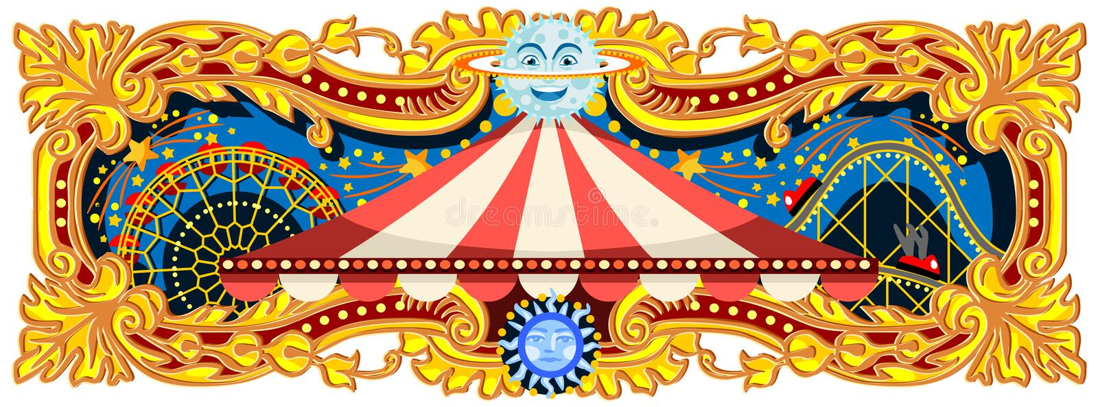 Carnival Banner Circus Theme Blog. Carnival banner circus template. Circus vintage theme for kids birthday party invitation or post. Quality vector illustration stock illustration
