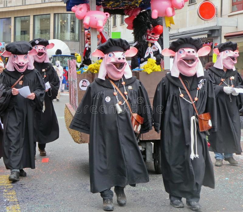 Carnival of Basel - Pig. Carnival masks showing pigs faces in the streets of the city of Basel stock photo