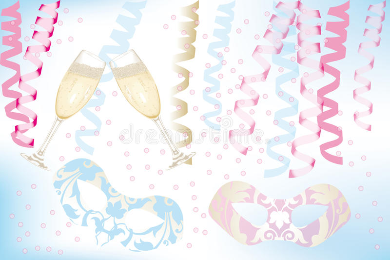Carnival. Card with two glasses of Champagne, masks, ribbons and confetti on light-blue background - eps 10 vectors stock illustration
