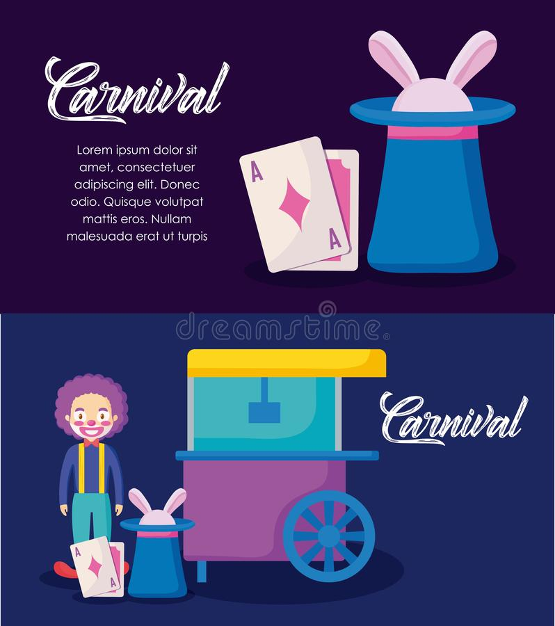Carnival celebration infographic icons vector illustration