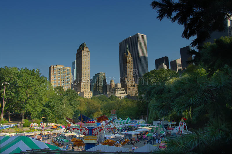 Carnival At Central Park New York With Rides Stock Photography