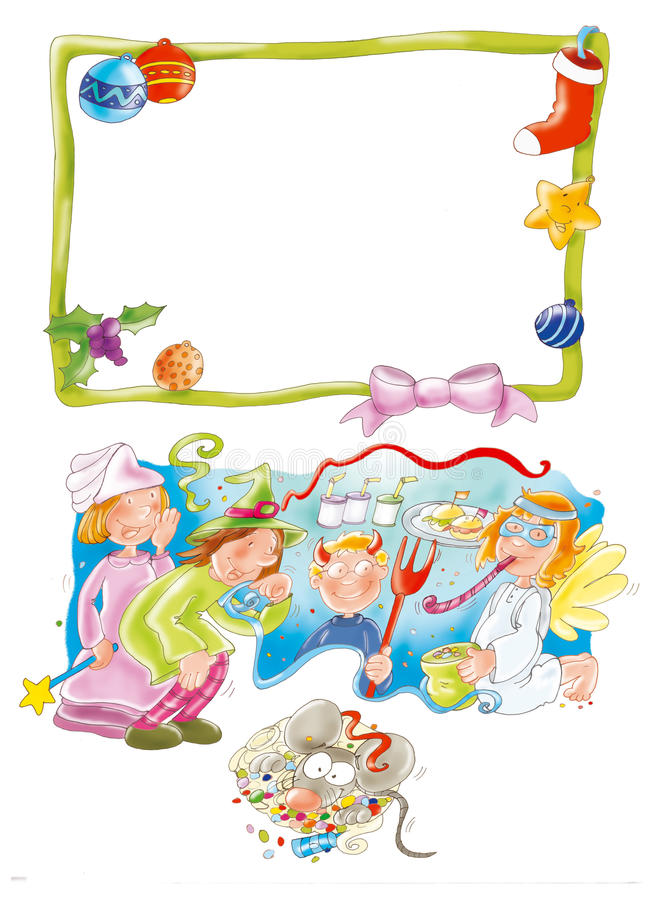 Carnival, with children dressed, and Masks . stock illustration