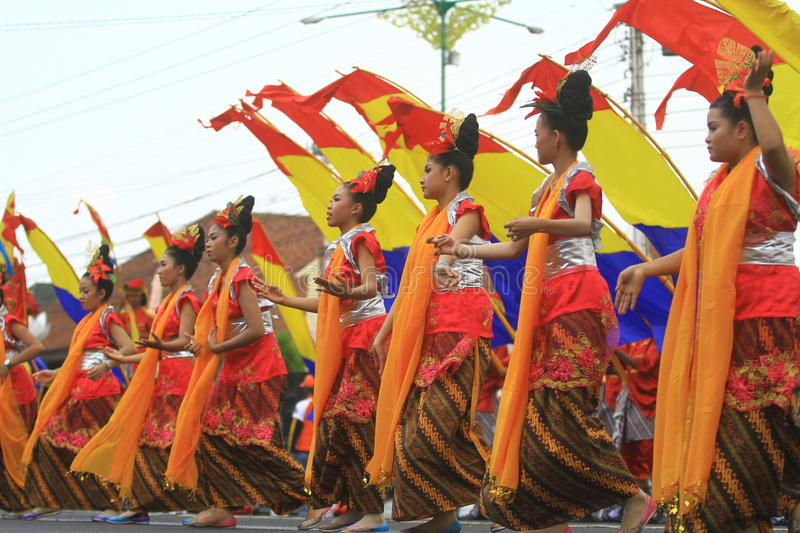 Carnival city anniversary Sragen. Dancers bring Ganesha dances that serve as Kota Sragen Anniversary logo, Java, Indonesia. Each year anniversary is always royalty free stock image