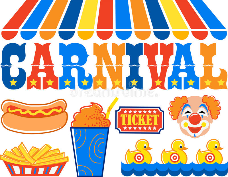Carnival Clipart/eps. Headline illustration of the word carnival with hot dog, fries, slushy, clown, ticket and shooting gallery...related image in my portfolio