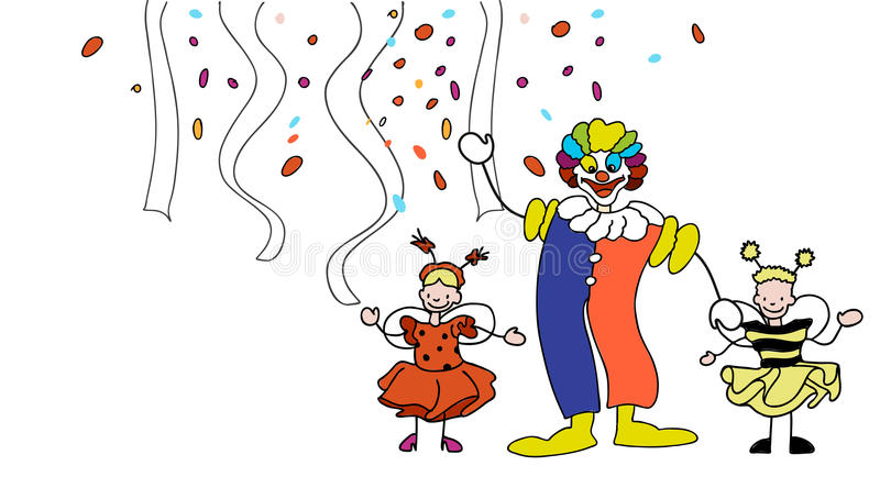 Carnival Clown and Toddler in front of Confetti and Garlands. Hand-drawn vector sketch, Artwork vector illustration