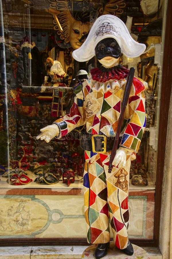 Carnival costume of harlequin, Venice royalty free stock photo