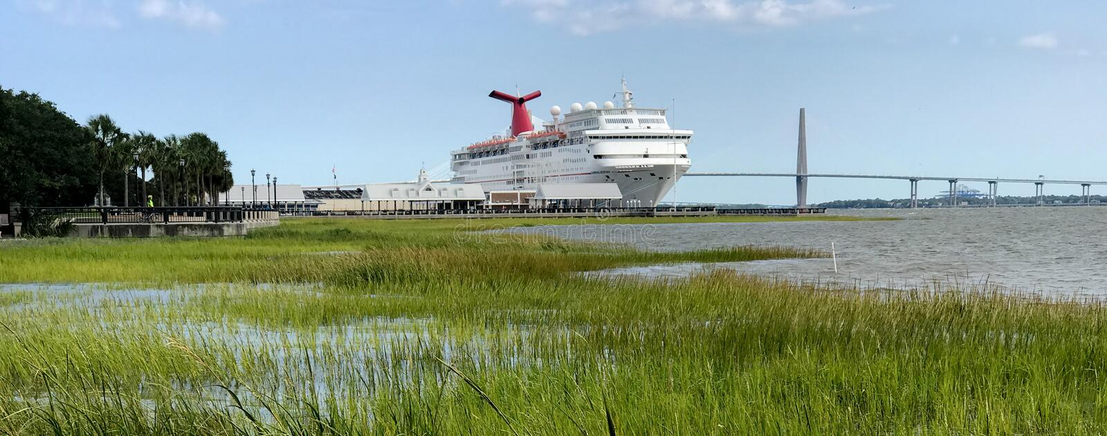Carnival Ecstacy. The Carnival Cruise ship Ecstacy is docked in its home port of Charleston, South Carolina royalty free stock images