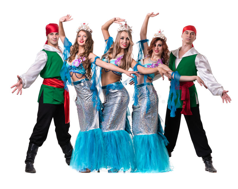Carnival dancer team dressed as mermaids and. Pirates. Retro fashion style, isolated on white background in full length stock photography