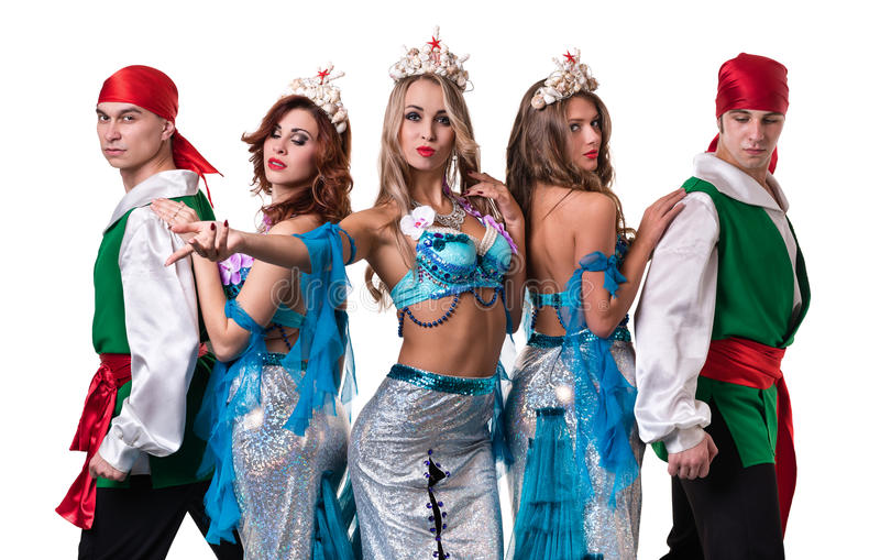 Carnival dancer team dressed as mermaids and. Pirates. Retro fashion style, isolated on white background in full length stock image