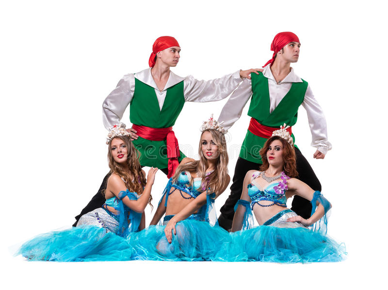 Carnival dancer team dressed as mermaids and. Pirates. Retro fashion style, isolated on white background in full length stock photos