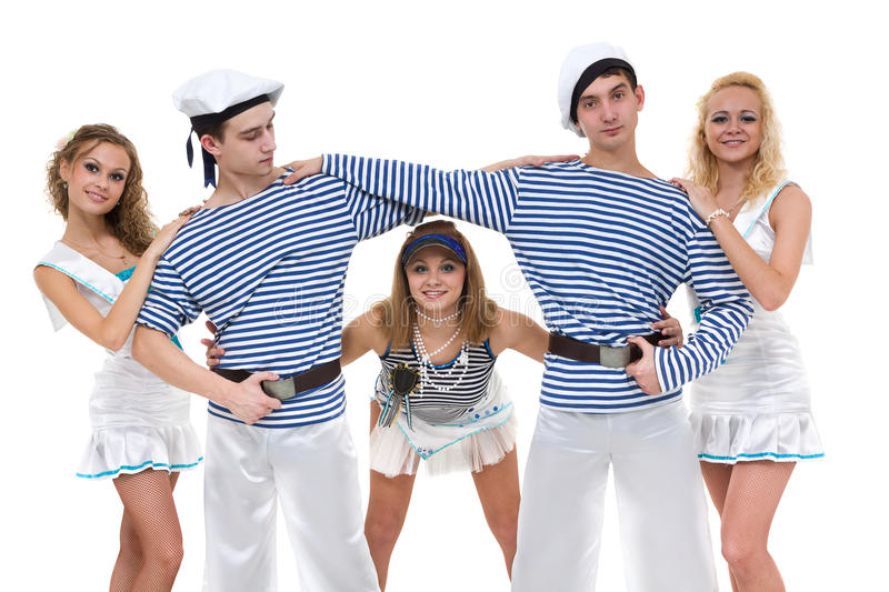 Carnival dancer team dressed as sailors. Isolated on white background in full length. Carnival dancer team dressed as sailors. Retro fashion style, isolated on royalty free stock image
