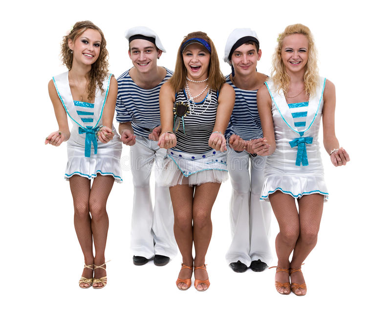 Carnival dancer team dressed as sailors. Isolated on white background in full length. Carnival dancer team dressed as sailors. Retro fashion style, isolated on royalty free stock photo