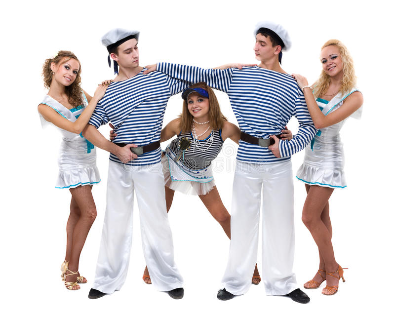 Carnival dancer team dressed as sailors. Isolated on white background in full length. Carnival dancer team dressed as sailors. Retro fashion style, isolated on stock image