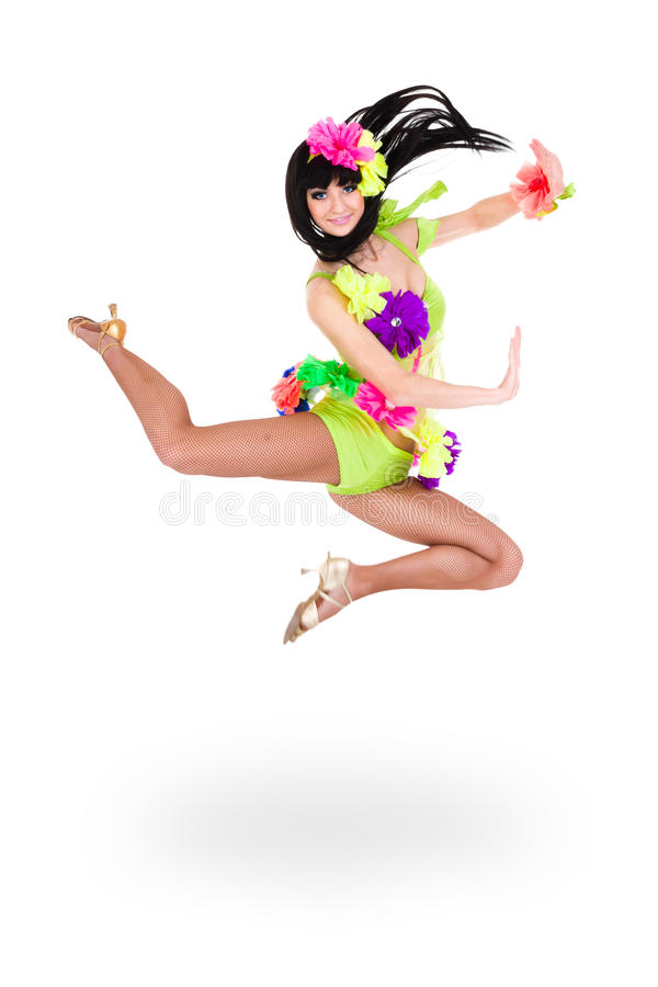Carnival dancer woman jumping. Against isolated white background stock images
