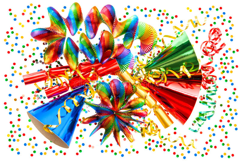 Carnival decoration garlands, streamer, confetti. Cracker, party hats stock photography