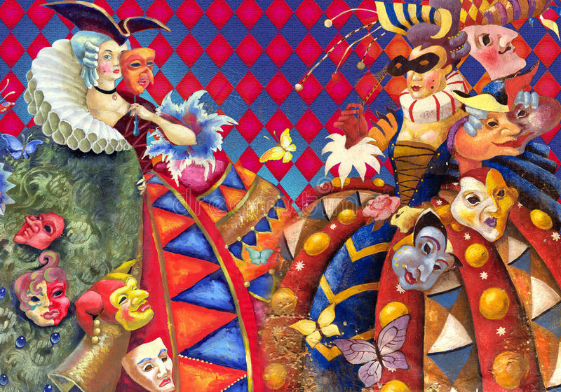 Carnival. Decorative composition with painting of lady in costume of 18 centure stock illustration