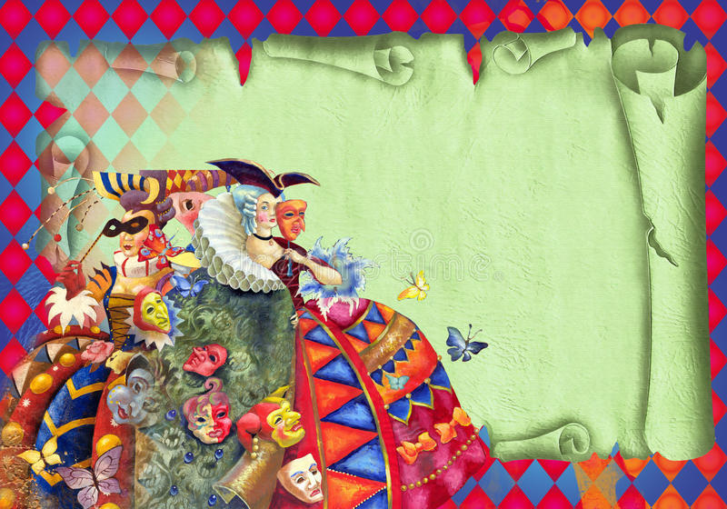 Carnival. Decorative composition with painting of lady in costume of 18 centure royalty free illustration