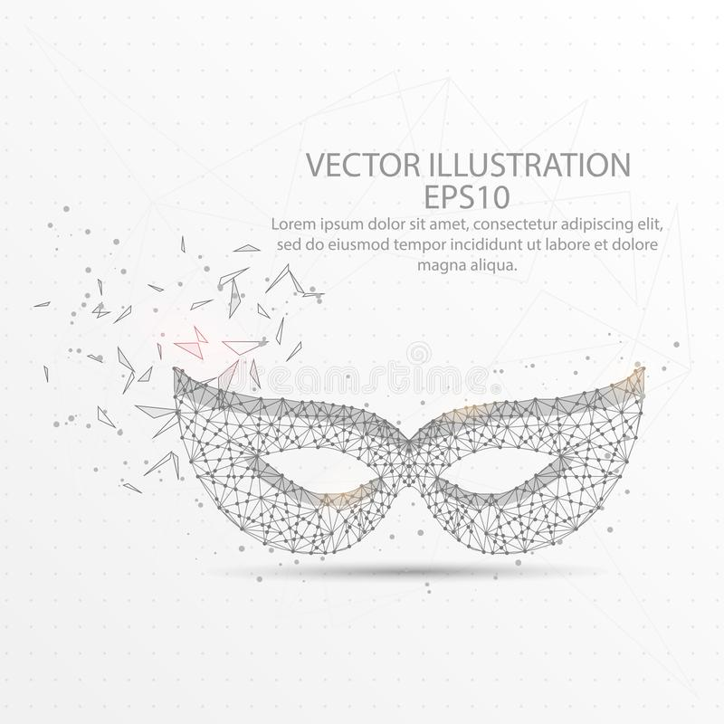 Carnival face mask low poly wire frame on white background. royalty free illustration