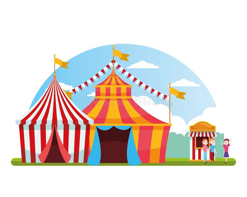 Carnival fair tents and happy people in the ticket booth, colorful design vector illustration
