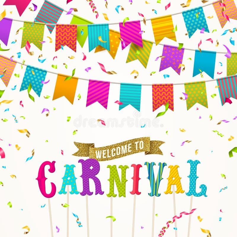 Carnival flags garlands, falling multicolored confetti and type design invitation with glitter gold ribbon vector illustration