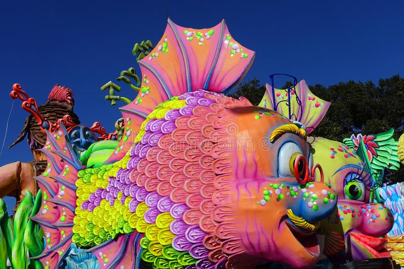 Carnival Floats in Malta. Colorful Day-Glo fish floats in a parade during the February Carnival celebration in the capital city of Valletta, Malta held the week stock photography