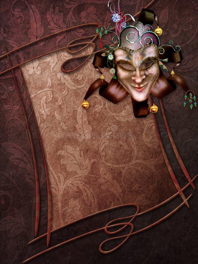 Carnival frame and mask. Dark brown background with a vintage frame and carnival mask royalty free illustration