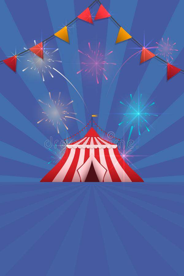 Carnival and Fun Fair Flyer template. Vector logo with a painted tent and fireworks. Carnival and Fun Fair Flyer template. Vector logo with a painted tent and royalty free illustration