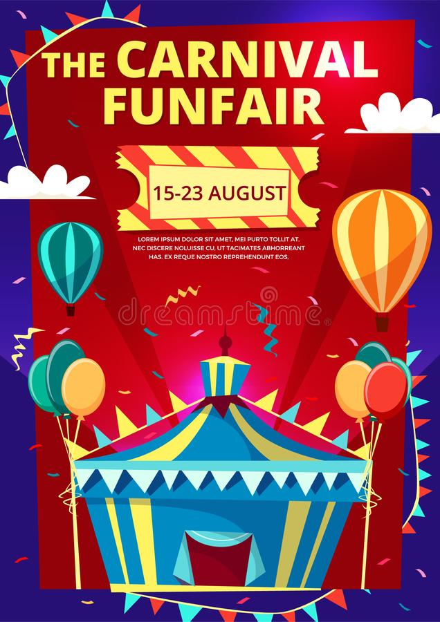 Carnival funfair cartoon illustration of circus invitation poster, banner or flyer template stock illustration
