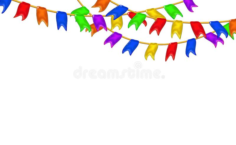 Carnival garlands flags decorative multicolor, 3d caramel glossy little pennants hanging by rope. Realistic plastic toy for stock illustration