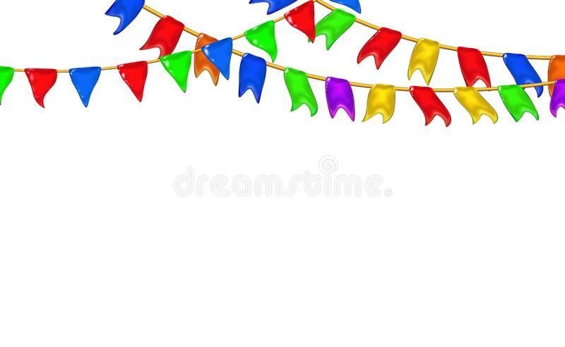 Carnival garlands flags decorative multicolor, 3d caramel glossy little pennants hanging by rope. Realistic plastic toy for royalty free illustration