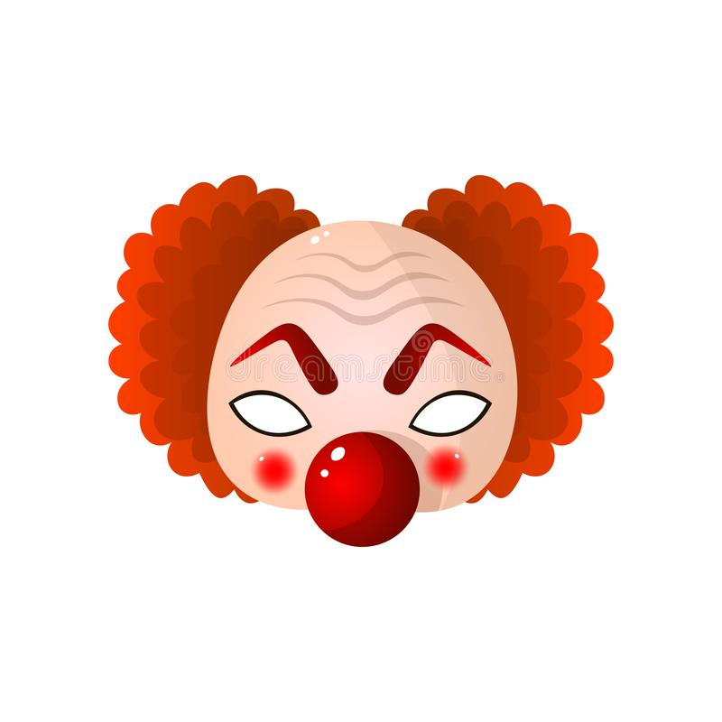 Carnival halloween, masquerade clown mask with big red nose and curly hair stock illustration