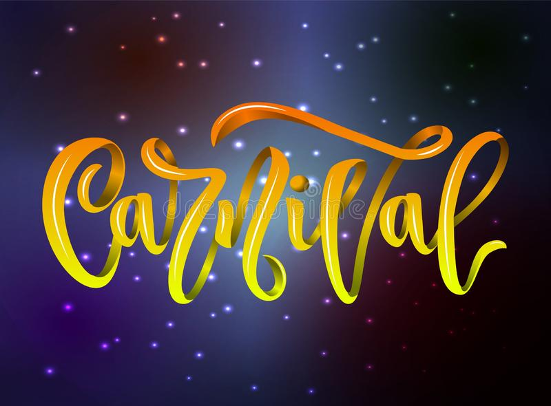 Carnival hand calligraphy lettering inscription yellow color on background with space stars. vector illustration vector illustration