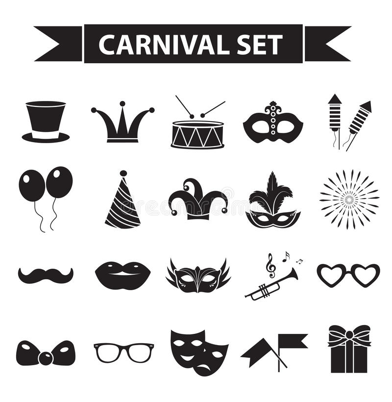 Carnival icon set, black silhouette style. Party, masquerade collection signs, symbols, on white background vector illustration