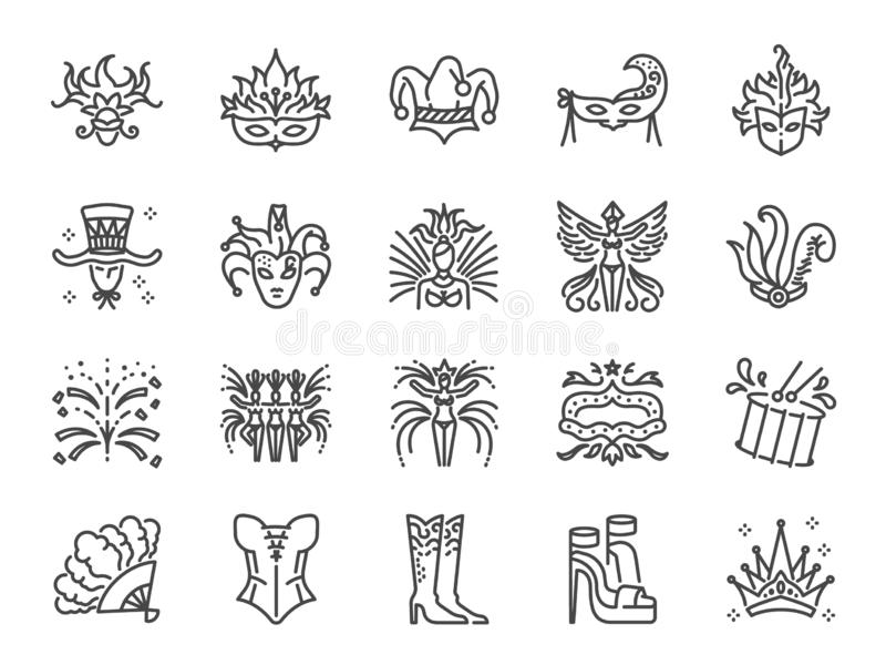Carnival icon set. Included the icons as mardi gras, celebration, event, cabaret, entertainment and more. stock illustration